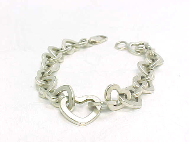 Primary image for Italian HEART Link STERLING Silver BRACELET - 7 inches long - FREE SHIPPING