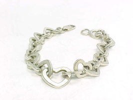 Italian HEART Link STERLING Silver BRACELET - 7 inches long - FREE SHIPPING - $85.00
