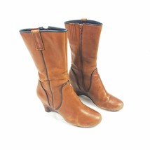 Biviel Anthropologie Leather Brown Wedge Boots Size EUR 38.5 US 9 - $45.00