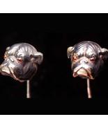 Antique Bulldog STICKPIN - Sterling dog - genuine Garnet eye - vintage g... - $275.00