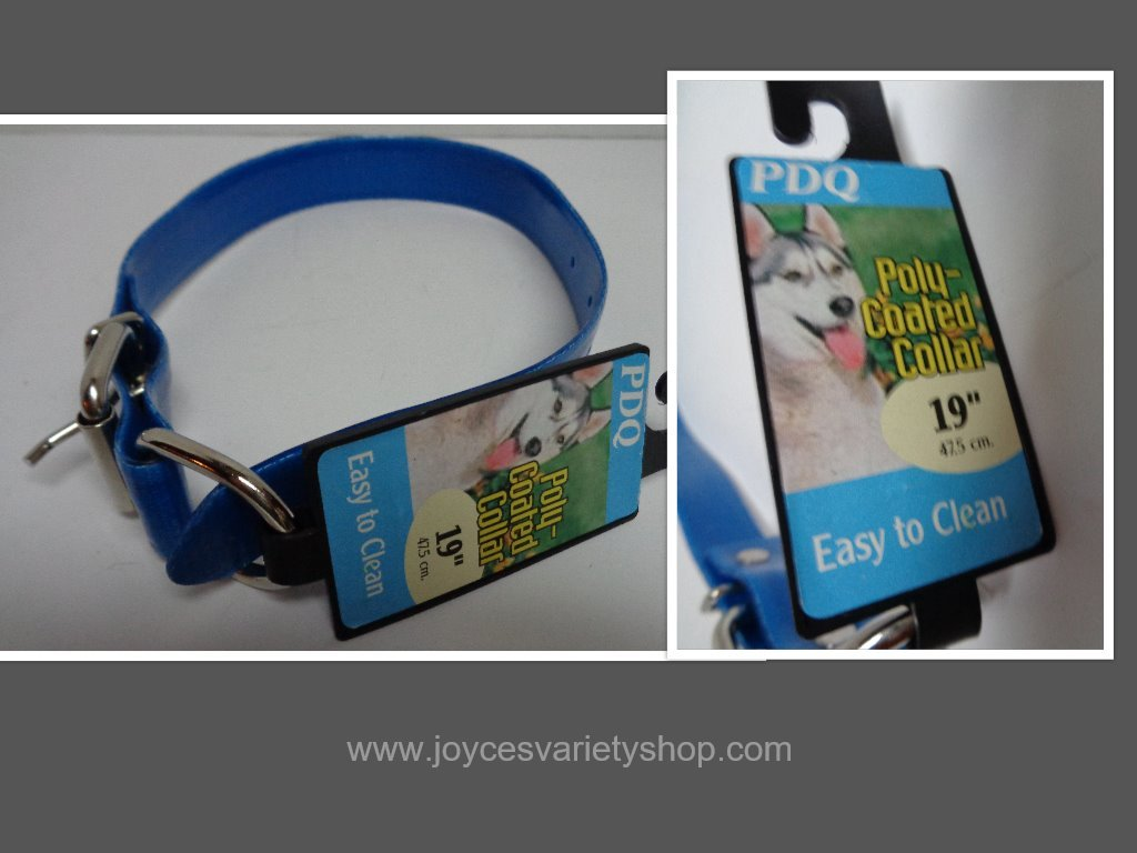 Blue poly coated dog collar collage