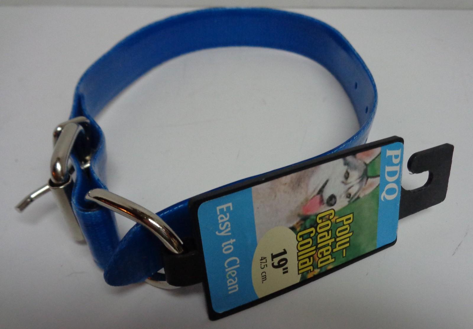 "Neon Blue Poly Coated Dog Collar NWT Medium Breed Adjustable 23"""
