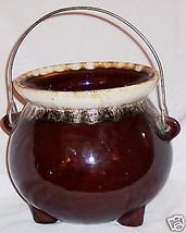 "USA 6 1/2"" Vase Burgandy Stoneware Pot with Wire Handle - $18.14"