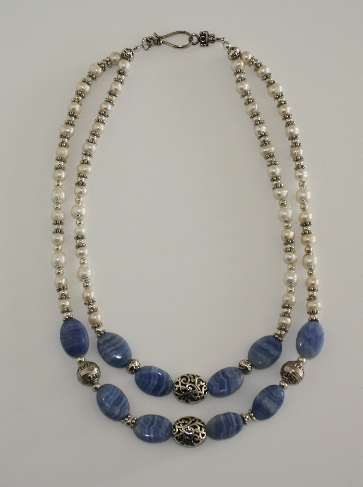 Blue Lace and Freshwater Pearl Necklace and Earrings Set