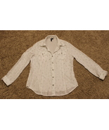 A.Z.I. WHITE POLKA DOTS LONG SLEEVE BUTTON DOWN SHIRT TOP OFFICE CAREER ... - $5.99