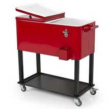 Red Rolling Patio Deck Party Rectangular Drink Cooler - Holds 100 Beer/S... - $191.97