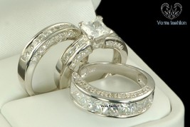 10K White Gold His and Her Diamond Engagement Bridal Wedding Band Trio Ring Set - $146.99