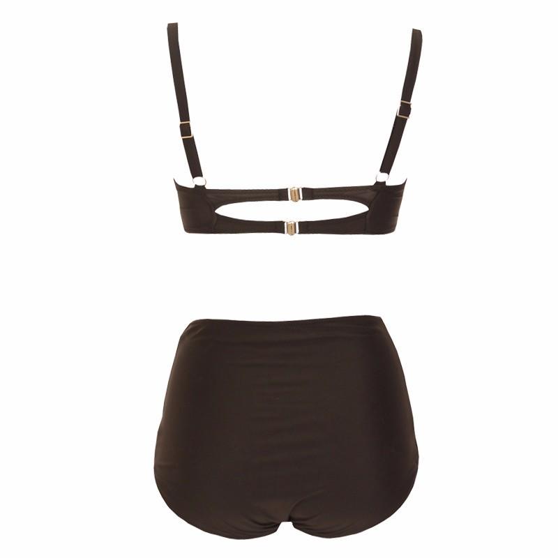 Women's Plus Size Underwire Push Up High Waist Two Pieces Bikini Set