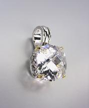 Designer Style Silver Gold Balinese Filigree Clear Quartz CZ Crystal Pendant - $26.99