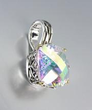 Designer Style Silver Gold Balinese Filigree Aurora Borealis CZ Crystal Pendant - $26.99