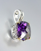 Designer Style Silver Gold Balinese Filigree Purple Amethyst CZ Crystal Pendant - $26.99