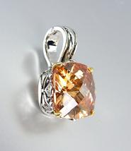 Designer Style Silver Gold Balinese Filigree Brown Topaz CZ Crystal Pendant - $26.99