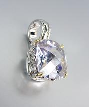 Designer Style Silver Gold Balinese Filigree Lavender Topaz CZ Crystal Pendant - $26.99