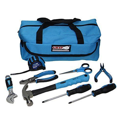 Childrens Tool Set Real Tools Kids Fits Smaller Hands 6 Piece Kit with Bag Blue