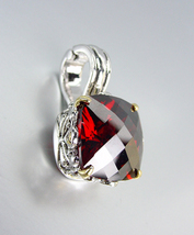 Designer Style Silver Gold Balinese Filigree Red Garnet CZ Crystal Pendant - $26.99