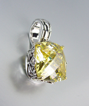 Designer Silver Gold Balinese Filigree Lemon Yellow Citrine CZ Crystal Pendant - $26.99