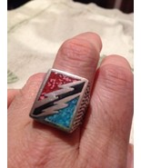 1980's Vintage Large Stainless Steel  Men's Turquoise Lightning Bolt Ring - $32.73
