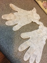 Handmade Vintage Irish Crochet Lace Gloves c1940~Women's Clothing,Bridal - $42.08