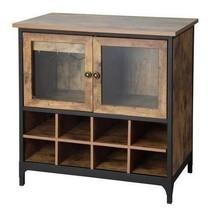 Rustic Brown Pine Wooden Wine Rack Liquor Cabinet Bar Storage Holds 8 Bo... - $178.10