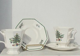 Nikko Classic Collection Christmastime Footed Coffee Cup And Saucer Set Of 2 - $13.85