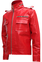 Soft Biker Red Leather Jacket Men | LJM - $199.99