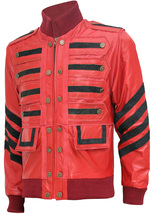 Men Maroon Bomber Military Leather Jacket | LJM - $199.99