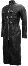 Full-Length Black Goth Leather Coat for Men | LJM - $279.00