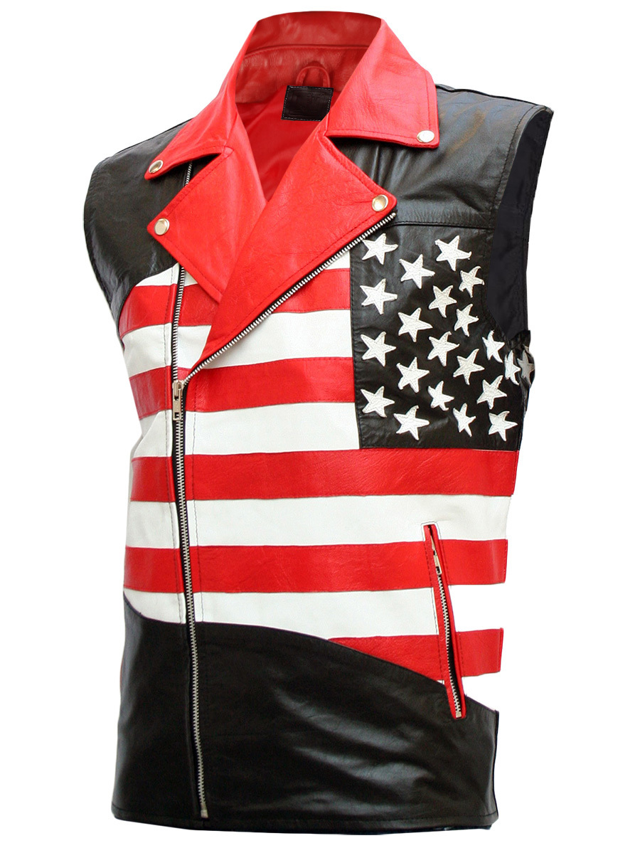 Mens american flag biker leather jacket 2
