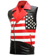 USA Flag Leather Motorcycle Vest for Men | LJM - £160.79 GBP