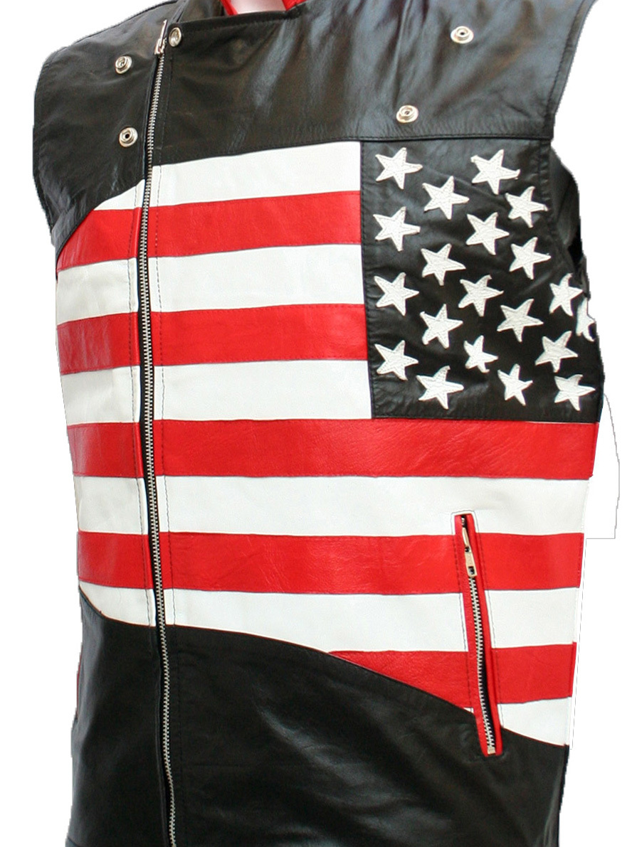USA Flag Leather Motorcycle Vest for Men | LJM