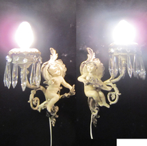 Pair Antique French Cherub Spelter French lamp ... - $1,128.02