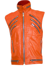Orange Sleeveless Leather Jacket for Men | LJM - $199.99