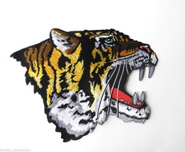X LARGE TIGER HEAD NOVELTY EMBROIDERED PATCH 10.5 INCH - $15.00
