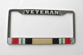 IRAQI FREEDOM VETERAN CHROME PLATED LICENSE PLATE FRAME 6X12 INCHES AUTO... - $12.18