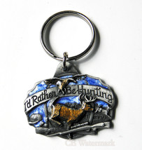 CLASSIC PEWTER ENAMEL HUNTING STAG DEER KEY CHAIN KEYRING 1.5 INCHES - $7.29