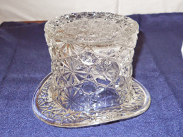 Vintage Large Fenton TOP HAT Daisy & Button Pattern Clear Glass Art - $1.53