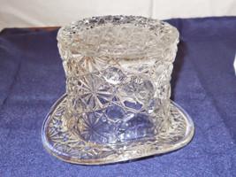 Vintage Large Fenton TOP HAT Daisy & ButtonPattern Clear Glass Art - $1.53
