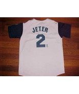 Majestic MLB  N Y Yankees Derek Jeter 2 Boys Gray Blue White Baseball Jersey - $34.64