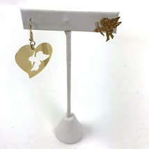 Vtg 90s Cut Outs Earrings Asymmetrical Gold Tone Pierced Heart Cupid Val... - $15.83