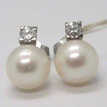 White Gold Earrings 750 18K White Pearls Diameter 9 mm, Diamond Carat 0.25 image 1