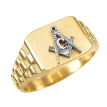 14K Yellow Gold Masonic Freemason Ring (15.25) - $349.99