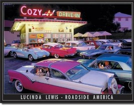 Lewis - Cozy Drive In Metal Tin Sign Wall Art  - $19.79
