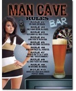 Man Cave Rules Metal Tin Sign Wall Art - $17.81