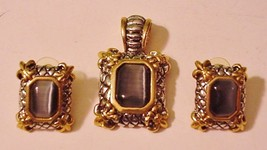 Stunning Ornate High Relief Pendant Matching Pierced Earrings Gray Stone - $39.55
