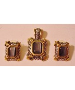 Stunning Ornate High Relief Pendant Matching Pierced Earrings Gray Stone - $39.95