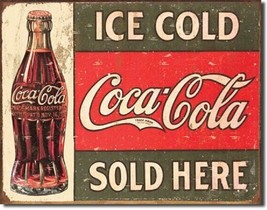 Coke1916 Ice Cold Coca Cola Sold Here Metal Tin Sign Wall Art - $19.79