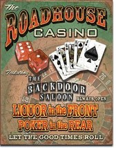 Roadhouse Bar & Casino Tin Sign Wall Art - $19.79