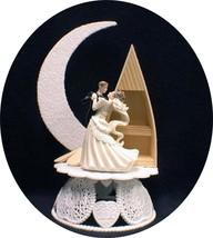Romantic Moonlight  Lake wood BOAT Wedding Cake Topper Top beach sea sail ship S - $33.66