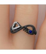 Sapphire & Diamond 925 Silver Infinity Style Mom Love Heart Ring Black G... - $60.80