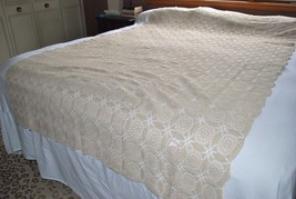 Gorgeous Large Vintage Hand Crocheted Tablecloth Rectangle 60 X 91 Fine ... - $148.49